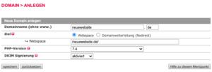 All-Inkl - Domain anlegen