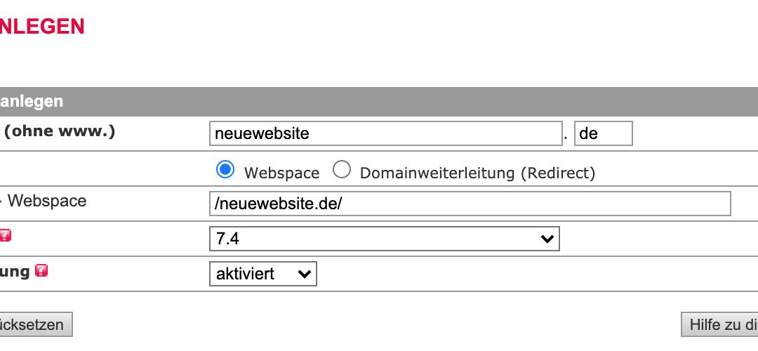 All-Inkl – Domain anlegen